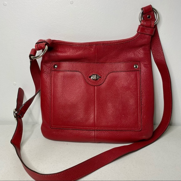 Coach Penelope Red Pebbled Leather Crossbody Bag